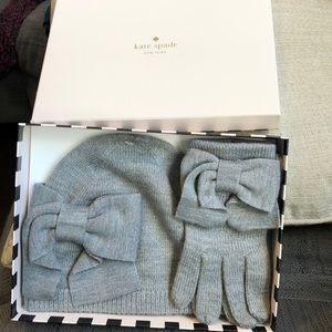 NIB Kate Spade Dorothy hat and glove bow set, grey